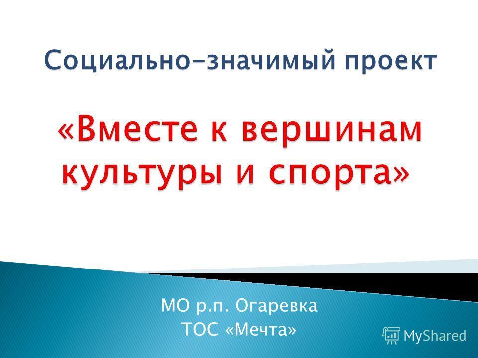 МО р.п. Огаревка ТОС «Мечта» Социально-значимый проект