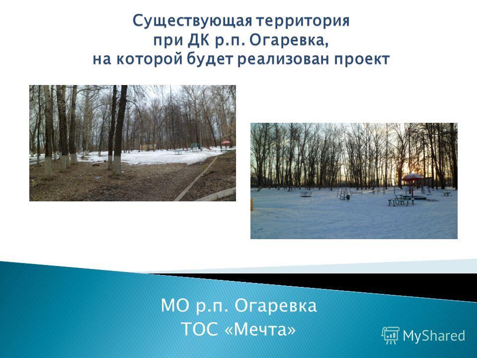 МО р.п. Огаревка ТОС «Мечта» Существующая территория при ДК р.п. Огаревка, на которой будет реализован проект
