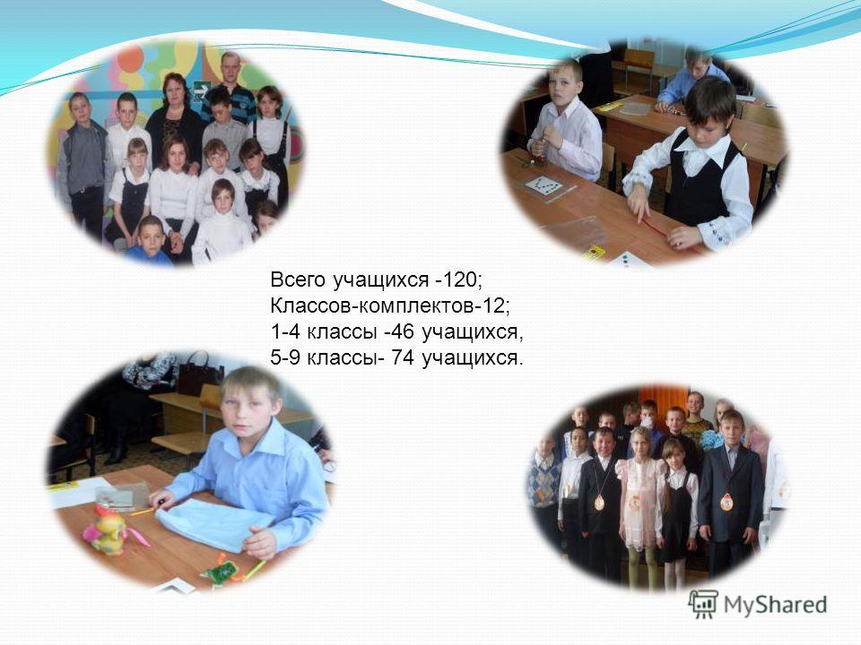 Всего учащихся -120; Классов-комплектов-12; 1-4 классы -46 учащихся, 5-9 классы- 74 учащихся.