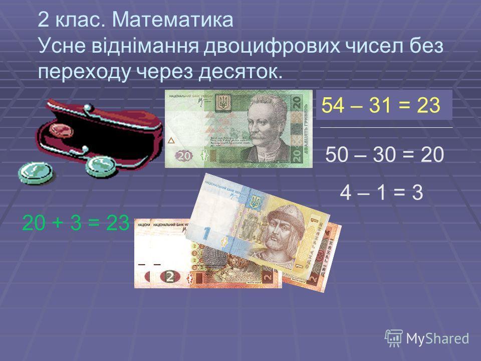 2 клас. Математика Усне віднімання двоцифрових чисел без переходу через десяток. 54 – 31 = ? 50 – 30 = 20 4 – 1 = 3 20 + 3 = 23 54 – 31 = 23