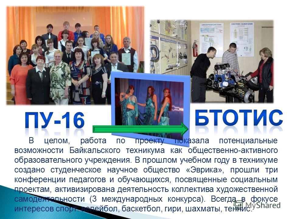 В целом, работа по проекту показала потенциальные возможности Байкальского техникума как общественно-активного образовательного учреждения. В прошлом учебном году в техникуме создано студенческое научное общество «Эврика», прошли три конференции педа