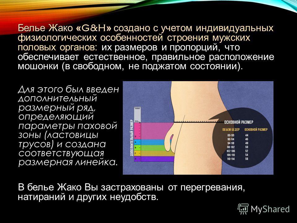 Для этого был введен дополнительный размерный ряд, определяющий параметры паховой зоны (ластовицы трусов) и создана соответствующая размерная линейка. Белье Жако « G&H » создано с учетом индивидуальных физиологических особенностей строения мужских по