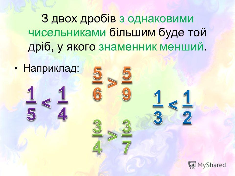 З двох дробів з однаковими чисельниками більшим буде той дріб, у якого знаменник менший. Наприклад:
