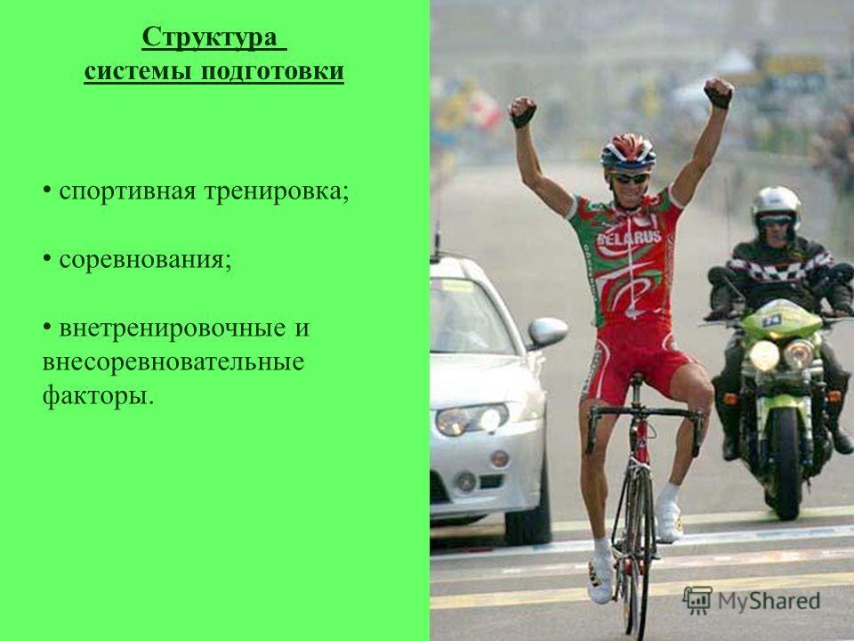 спортивная тренировка; соревнования; внетренировочные и внесоревновательные факторы. Структура системы подготовки