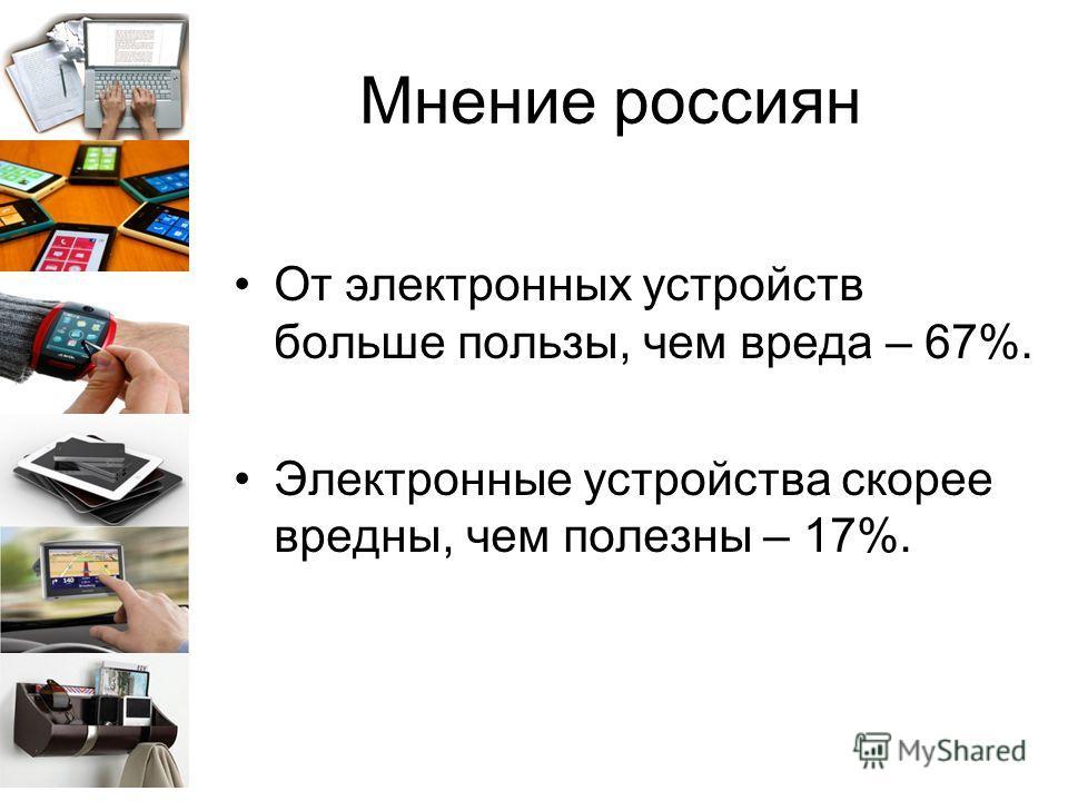 Мнение россиян От электронных устройств больше пользы, чем вреда – 67%. Электронные устройства скорее вредны, чем полезны – 17%.