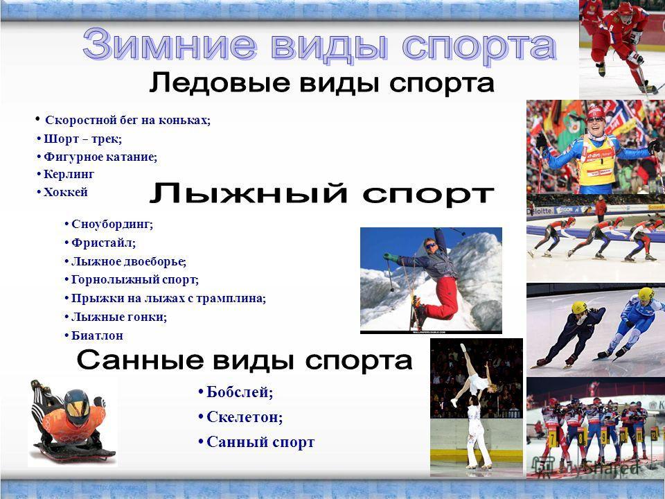 Скоростной бег на коньках ; Шорт – трек ; Фигурное катание ; Керлинг Хоккей Сноубординг ; Фристайл ; Лыжное двоеборье ; Горнолыжный спорт ; Прыжки на лыжах с трамплина ; Лыжные гонки ; Биатлон Бобслей ; Скелетон ; Санный спорт
