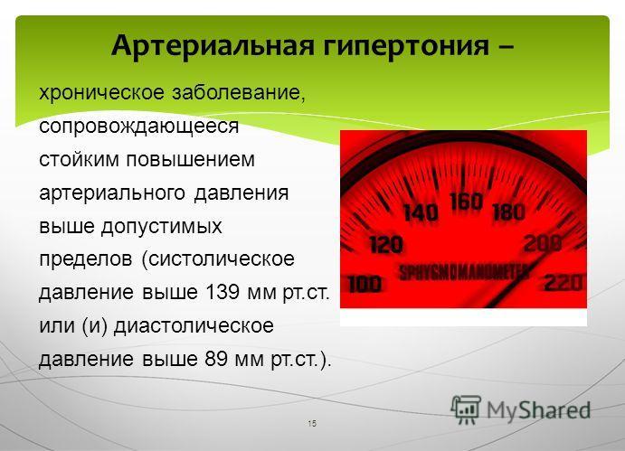 15 хроническое заболевание, сопровождающееся стойким повышением артериального давления выше допустимых пределов (систолическое давление выше 139 мм рт.ст. или (и) диастолическое давление выше 89 мм рт.ст.). Артериальная гипертония –