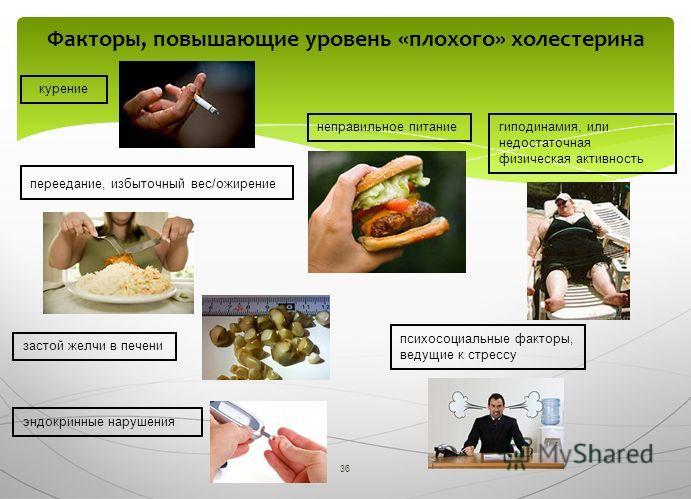 36 Факторы, повышающие уровень «плохого» холестерина курение переедание, избыточный вес/ожирение гиподинамия, или недостаточная физическая активность неправильное питание застой желчи в печени эндокринные нарушения психосоциальные факторы, ведущие к