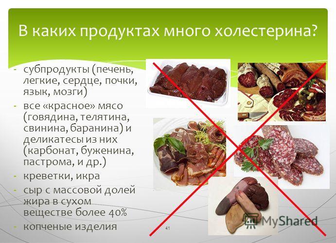 41 -субпродукты (печень, легкие, сердце, почки, язык, мозги) -все «красное» мясо (говядина, телятина, свинина, баранина) и деликатесы из них (карбонат, буженина, пастрома, и др.) -креветки, икра -сыр с массовой долей жира в сухом веществе более 40% -
