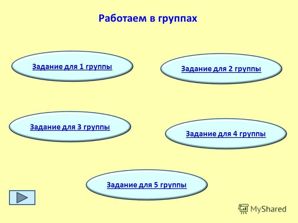 Работаем в группах Задание для 1 группы Задание для 2 группы Задание для 5 группы Задание для 3 группы Задание для 4 группы