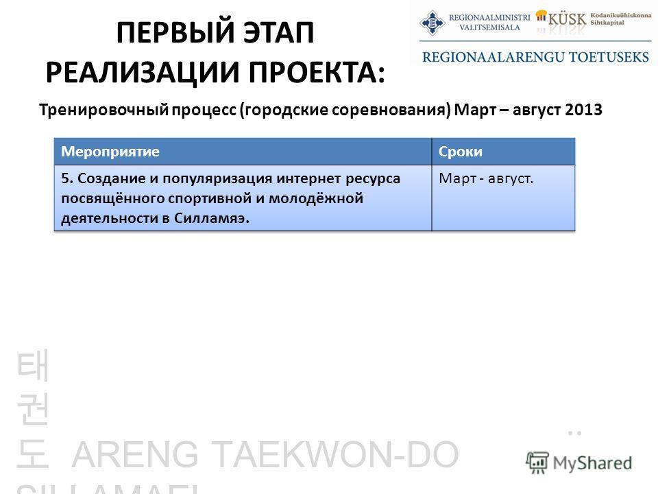 ARENG TAEKWON-DO SILLAMAEL.. ПЕРВЫЙ ЭТАП РЕАЛИЗАЦИИ ПРОЕКТА: Тренировочный процесс (городские соревнования) Март – август 2013