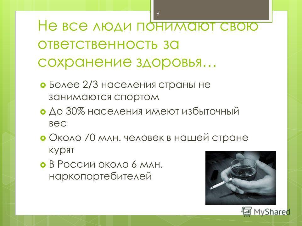 Не все люди понимают свою ответственность за сохранение здоровья… Более 2/3 населения страны не занимаются спортом До 30% населения имеют избыточный вес Около 70 млн. человек в нашей стране курят В России около 6 млн. наркопортебителей 9