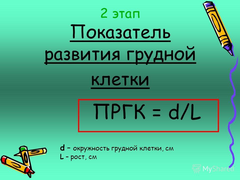 Диапазоны типов телосложения 0,28 – 0,31 – недостаточная масса, астенический тип сложения Астеник – худощав, плоскогруд, мускулатура развита слабо - 19 человек; 0,32 – 0,44 – нормальная масса, нормостенический тип сложения Нормостеник – широкогруд, п