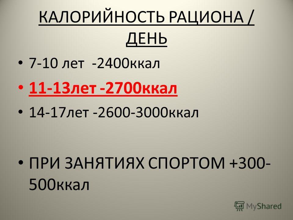 КАЛОРИЙНОСТЬ РАЦИОНА / ДЕНЬ 7-10 лет -2400 ккал 11-13 лет -2700 ккал 14-17 лет -2600-3000 ккал ПРИ ЗАНЯТИЯХ СПОРТОМ +300- 500 ккал