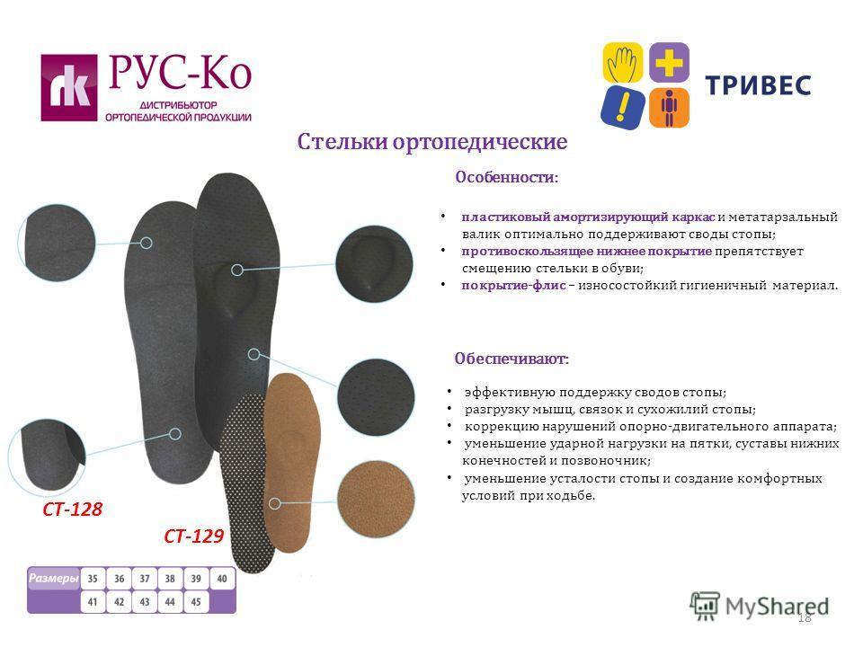 Стельки ортопедические 18 СТ-128 СТ-129 пластиковый амортизирующий каркас и метатарзальный валик оптимально поддерживают своды стопы; противоскользящее нижнее покрытие препятствует смещению стельки в обуви; покрытие-флис – износостойкий гигиеничный м