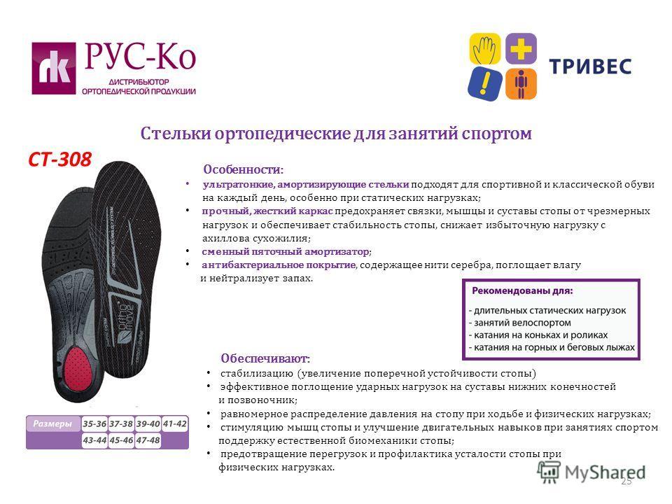 Стельки ортопедические для занятий спортом 25 СТ-308 Особенности: ультратонкие, амортизирующие стельки подходят для спортивной и классической обуви на каждый день, особенно при статических нагрузках; прочный, жесткий каркас предохраняет связки, мышцы