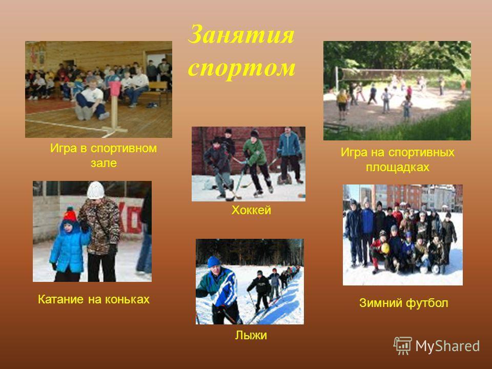 Занятия спортом Зимний футбол Катание на коньках Хоккей Лыжи Игра на спортивных площадках Игра в спортивном зале