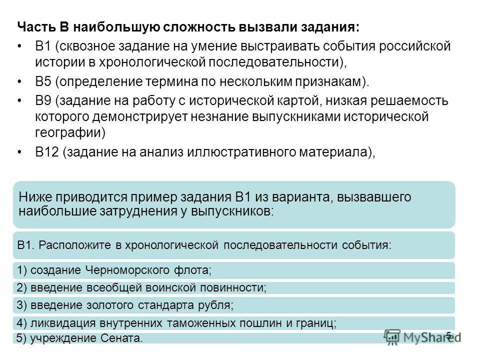 Часть В наибольшую сложность вызвали задания: В1 (сквозное задание на умение выстраивать события российской истории в хронологической последовательности), В5 (определение термина по нескольким признакам). В9 (задание на работу с исторической картой,