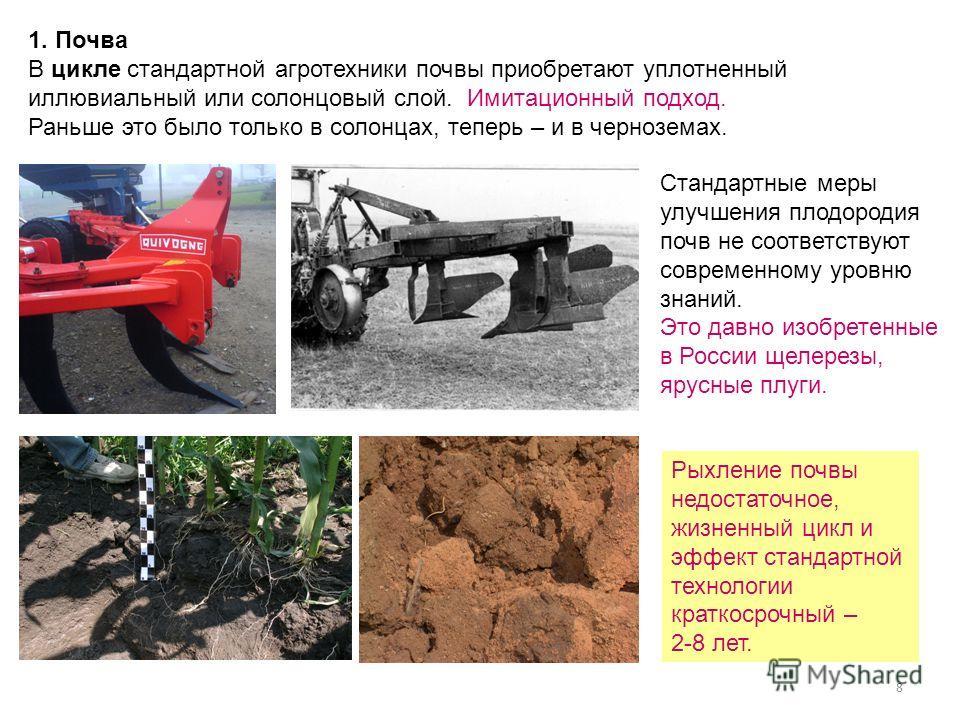 8 1. Почва В цикле стандартной агротехники почвы приобретают уплотненный иллювиальный или солонцовый слой. Имитационный подход. Раньше это было только в солонцах, теперь – и в черноземах. Стандартные меры улучшения плодородия почв не соответствуют со