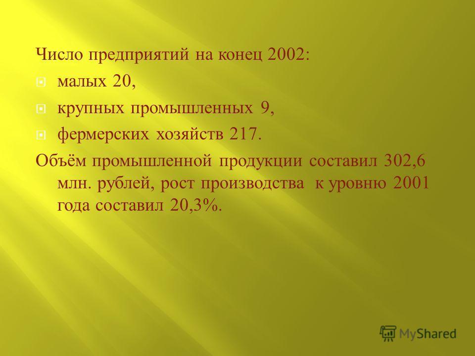 Число предприятий на конец 2002: малых 20, крупных промышленных 9, фермерских хозяйств 217. Объём промышленной продукции составил 302,6 млн. рублей, рост производства к уровню 2001 года составил 20,3%.
