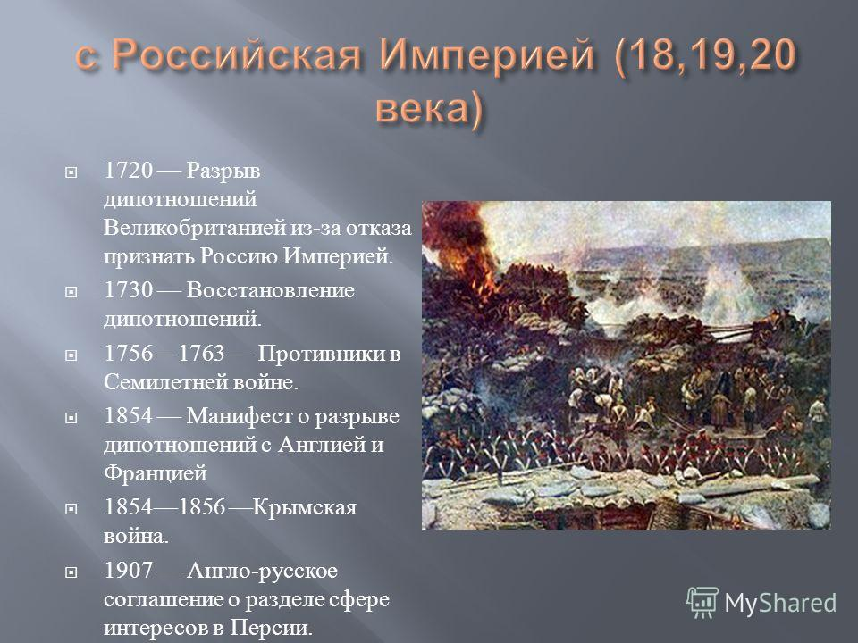 1553 Начало дипломатических отношений. 1706 Учреждение постоянного представительства Российского царства в Англии.