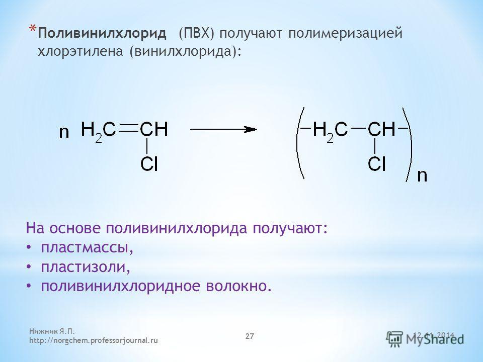 12.11.2014 Нижник Я.П. http://norgchem.professorjournal.ru 27 * Поливинилхлорид (ПВХ) получают полимеризацией хлорэтилена (винилхлорида): На основе поливинилхлорида получают: пластмассы, пластизоли, поливинилхлоридное волокно.