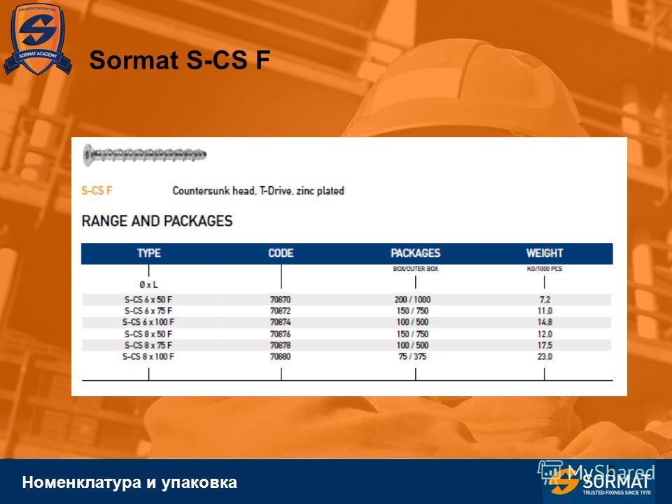 5 Номенклатура и упаковка Sormat S-CS F
