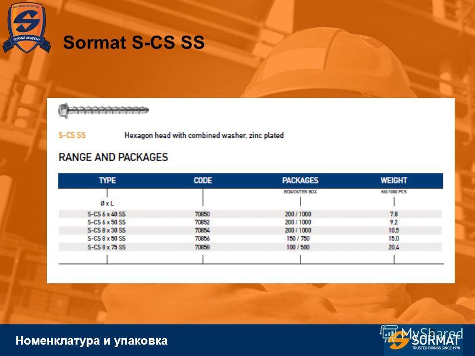 6 Номенклатура и упаковка Sormat S-CS SS