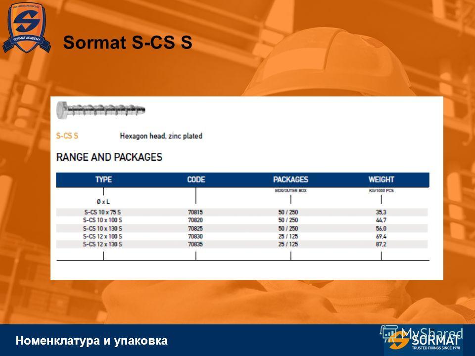 7 Номенклатура и упаковка Sormat S-CS S