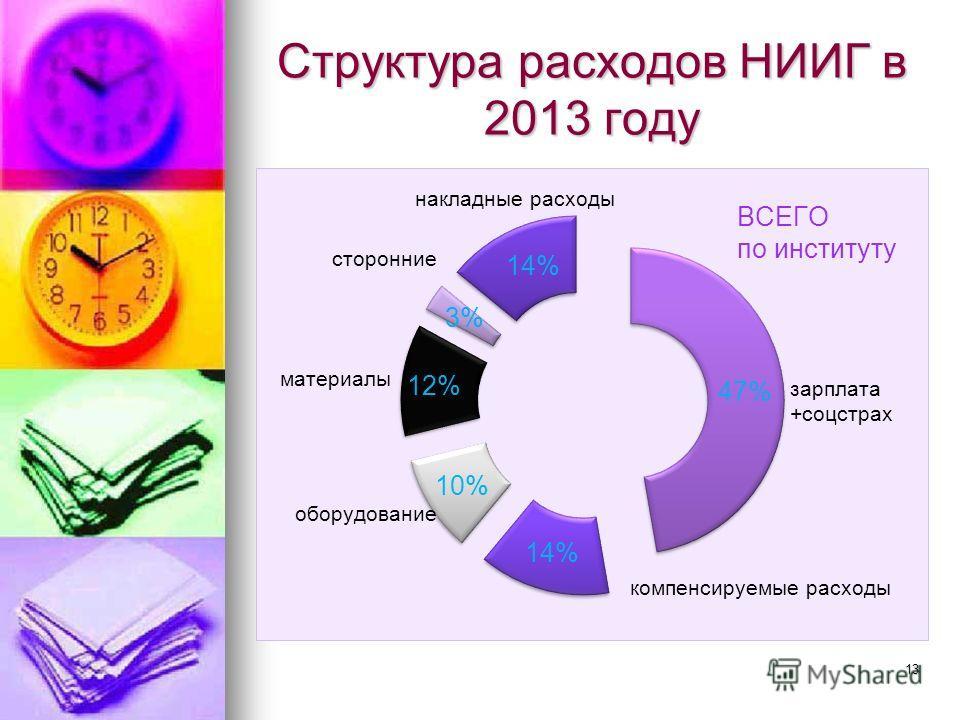 Структура расходов НИИГ в 2013 году 13