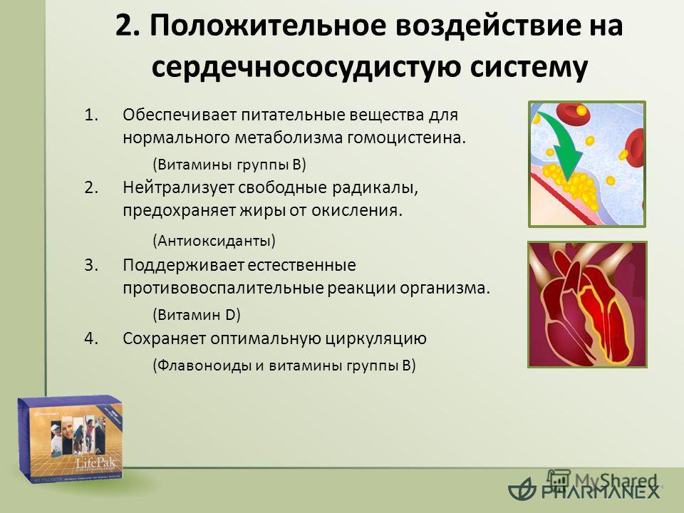 2. Положительное воздействие на сердечно сосудистую систему 1. Обеспечивает питательные вещества для нормального метаболизма гомоцистеина. (Витамины группы В) 2. Нейтрализует свободные радикалы, предохраняет жиры от окисления. (Антиоксиданты) 3. Подд