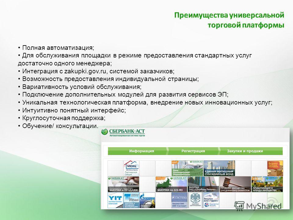 Полная автоматизация; Для обслуживания площадки в режиме предоставления стандартных услуг достаточно одного менеджера; Интеграция с zakupki.gov.ru, системой заказчиков; Возможность предоставления индивидуальной страницы; Вариативность условий обслужи
