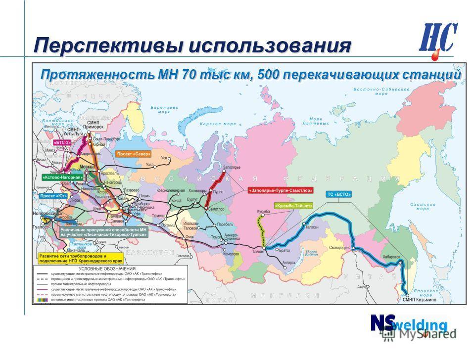 Перспективы использования Протяженность МН 70 тыс км, 500 перекачивающих станций