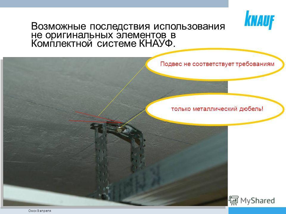 Подвес не соответствует требованиям Возможные последствия использования не оригинальных элементов в Комплектной системе КНАУФ. только металлический дюбель! Омск 9 апреля