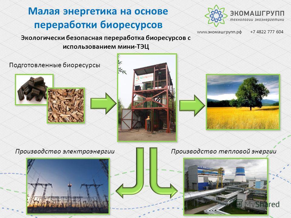 Экологически безопасная переработка биоресурсов с использованием мини-ТЭЦ Подготовленные биоресурсы Производство электроэнергии Производство тепловой энергии Малая энергетика на основе переработки биоресурсов www.экомашгрупп.рф +7 4822 777 604