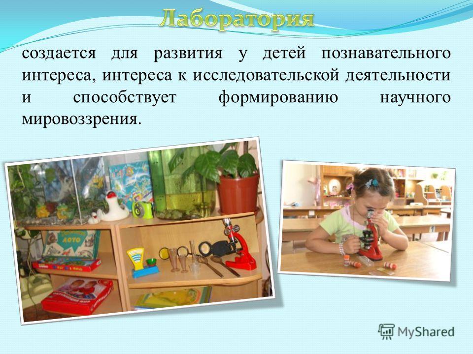 создается для развития у детей познавательного интереса, интереса к исследовательской деятельности и способствует формированию научного мировоззрения.