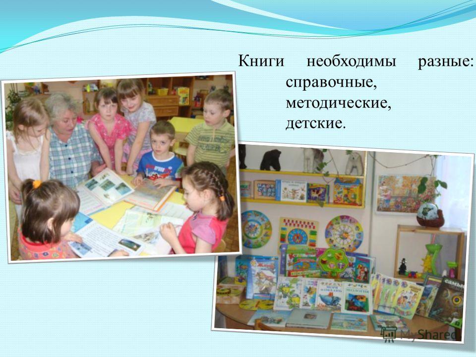 Книги необходимы разные: справочные, методические, детские.