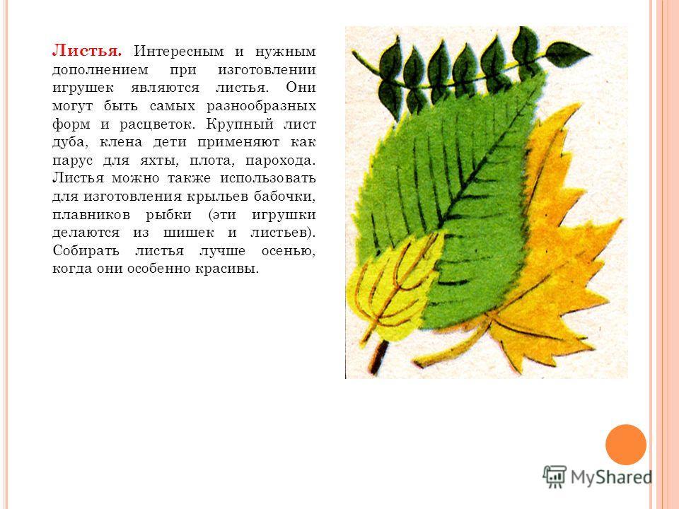 Листья. Интересным и нужным дополнением при изготовлении игрушек являются листья. Они могут быть самых разнообразных форм и расцветок. Крупный лист дуба, клена дети применяют как парус для яхты, плота, парохода. Листья можно также использовать для из
