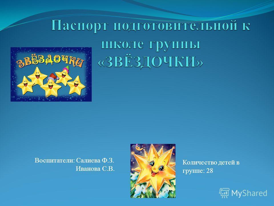 Воспитатели: Салиева Ф.З. Иванова С.В. Количество детей в группе: 28