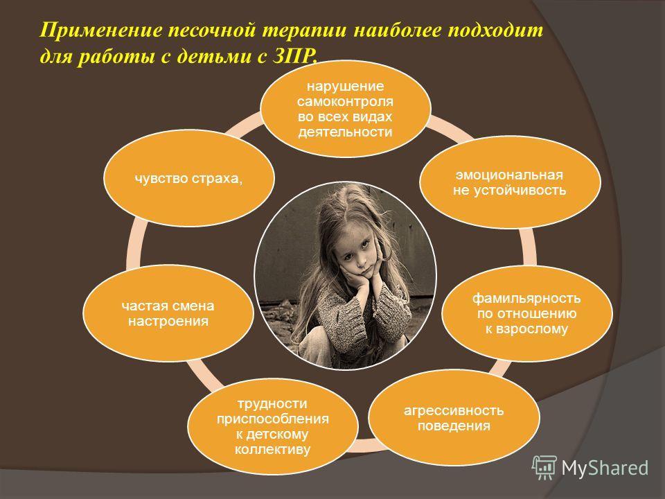 Применение песочной терапии наиболее подходит для работы с детьми с ЗПР. нарушение самоконтроля во всех видах деятельности эмоциональная не устойчивость фамильярность по отношению к взрослому агрессивность поведения трудности приспособления к детском