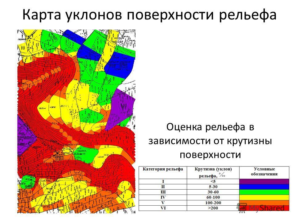 Карта уклонов поверхности рельефа Оценка рельефа в зависимости от крутизны поверхности