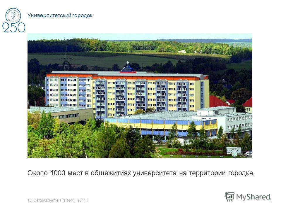 Около 1000 мест в общежитиях университета на территории городка. TU Bergakademie Freiberg | 2014 | 5 Университетский городок