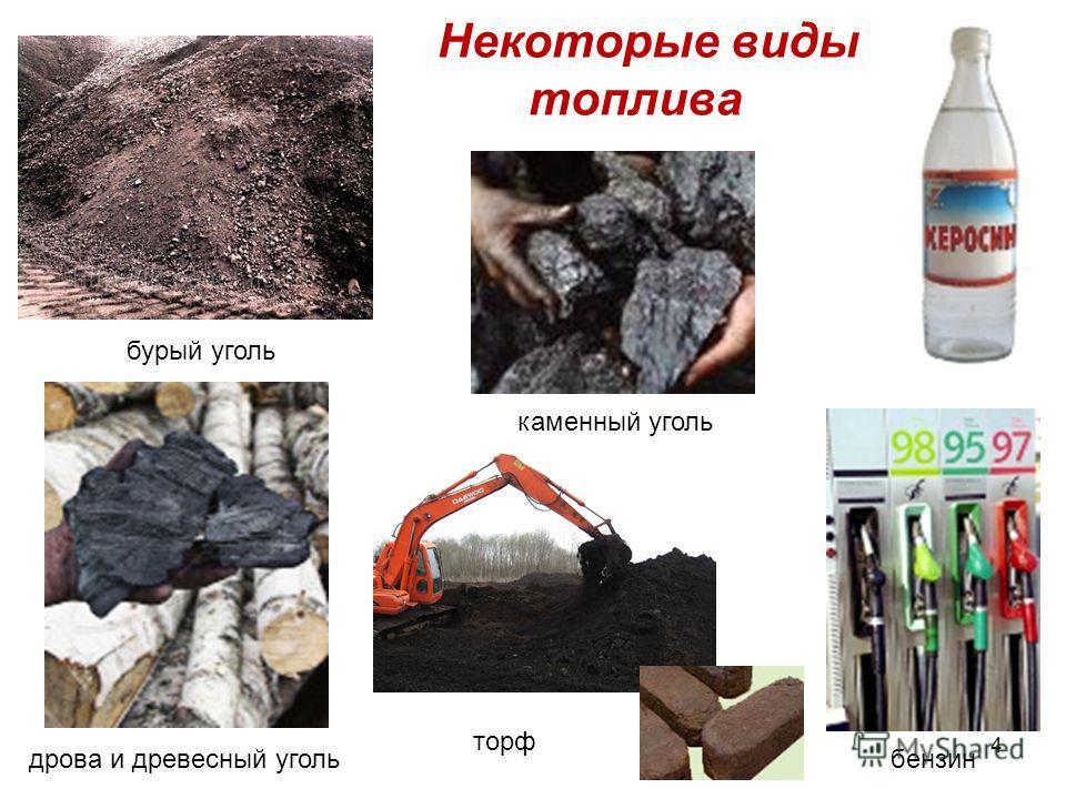 Некоторые виды топлива бурый уголь дрова и древесный уголь торф бензин каменный уголь 4