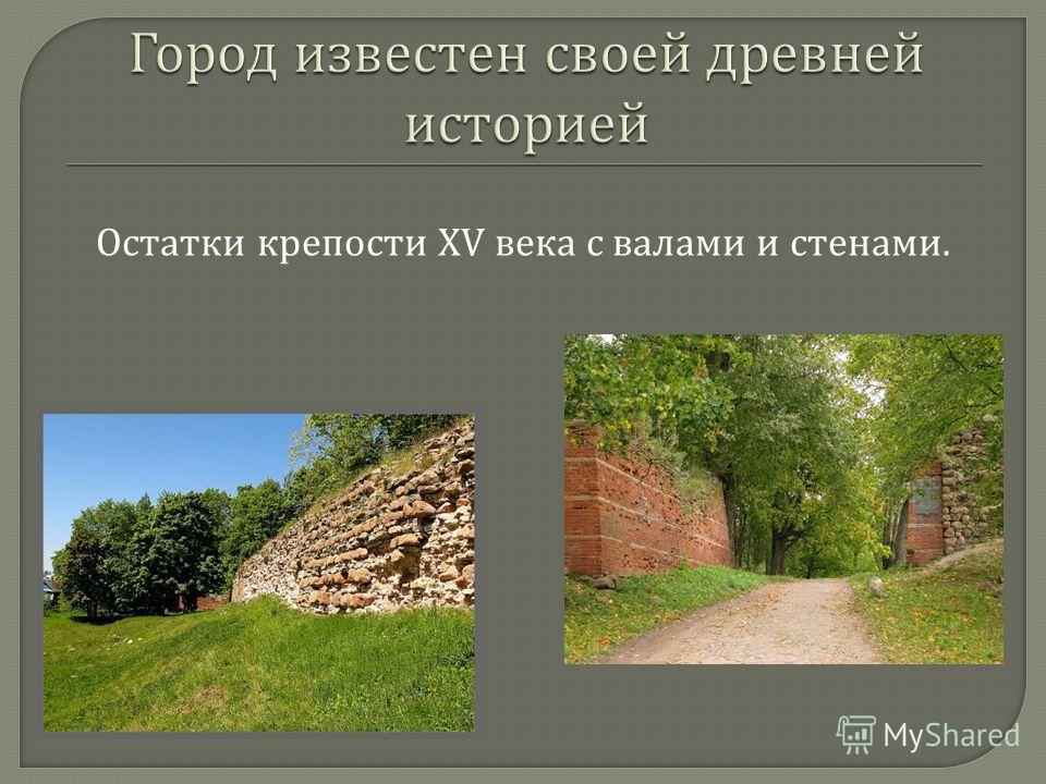 Остатки крепости XV века с валами и стенами.