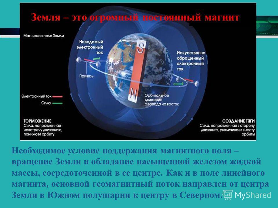 Необходимое условие поддержания магнитного поля – вращение Земли и обладание насыщенной железом жидкой массы, сосредоточенной в ее центре. Как и в поле линейного магнита, основной геомагнитный поток направлен от центра Земли в Южном полушарии к центр