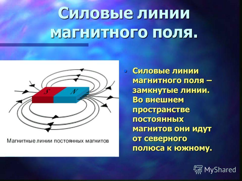 Силовые линии магнитного поля. Силовые линии магнитного поля – замкнутые линии. Во внешнем пространстве постоянных магнитов они идут от северного полюса к южному.