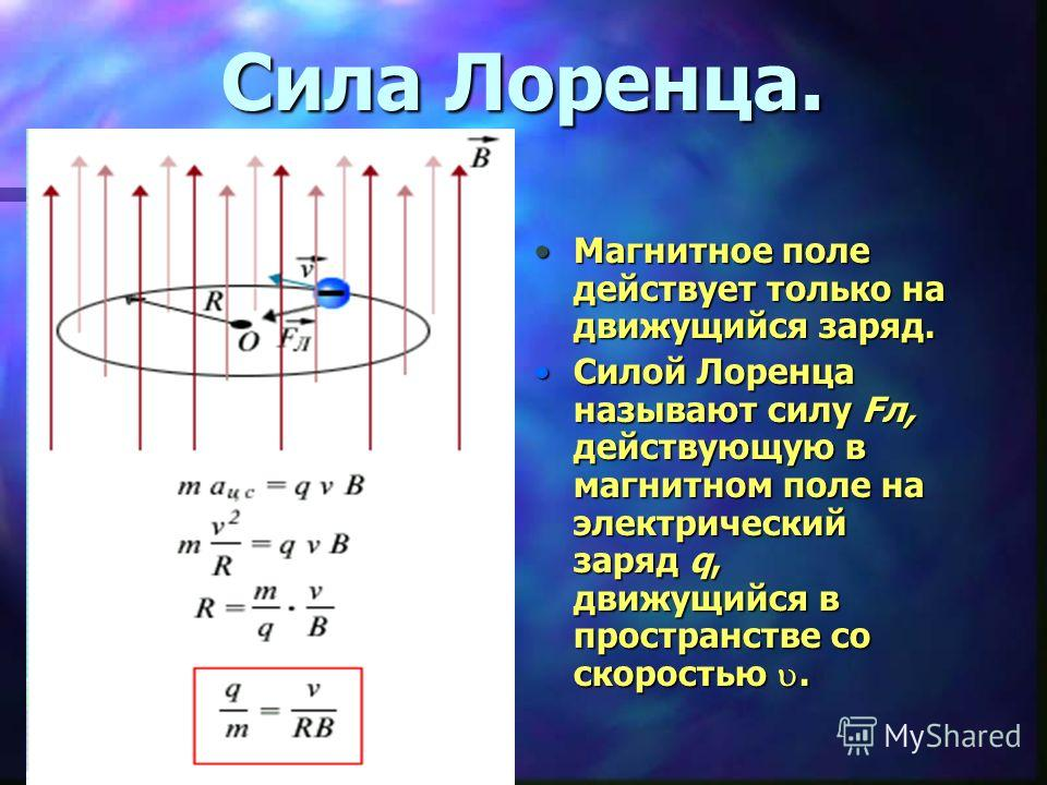 Сила Лоренца. Магнитное поле действует только на движущийся заряд. Силой Лоренца называют силу Fл, действующую в магнитном поле на электрический заряд q, движущийся в пространстве со скоростью.
