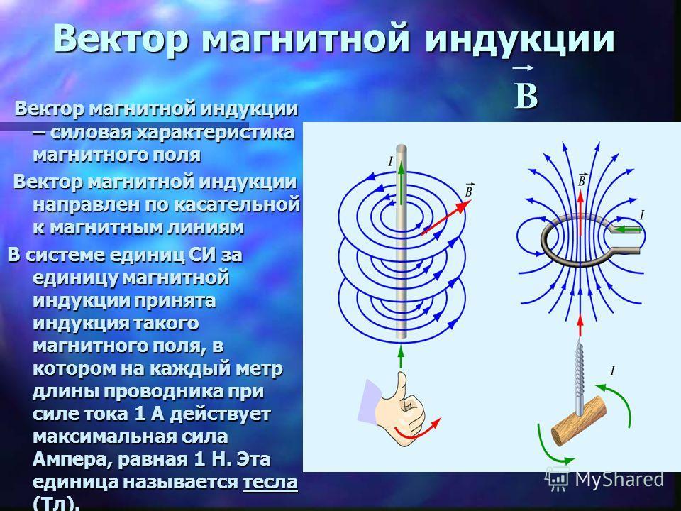 Вектор магнитной индукции Вектор магнитной индукции – силовая характеристика магнитного поля Вектор магнитной индукции – силовая характеристика магнитного поля Вектор магнитной индукции направлен по касательной к магнитным линиям Вектор магнитной инд