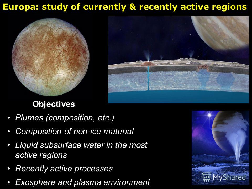 Objectives Plumes (composition, etc.) Composition of non-ice material Liquid subsurface water in the most active regions Recently active processes Exosphere and plasma environment Europa: study of currently & recently active regions