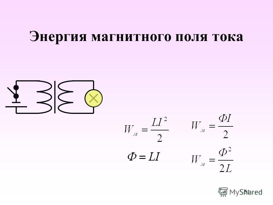 Энергия магнитного поля тока 51
